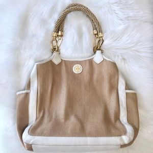Tory Burch Channing Straw Leather Top Handle Bag
